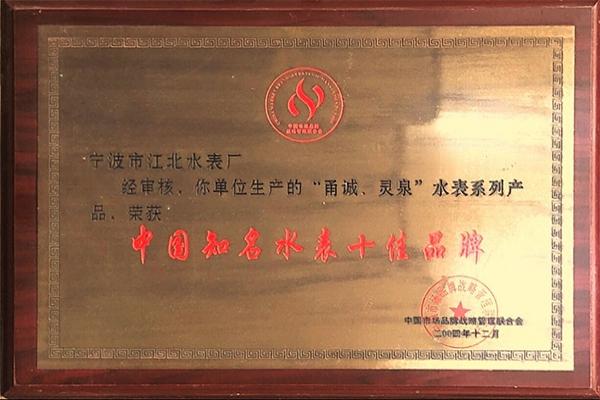 中国知名水表十佳品牌