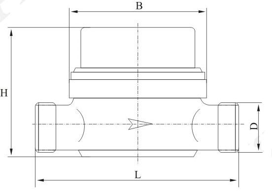 旋翼单流干式水表外形尺寸图