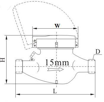15mm旋翼多流液封水表外形尺寸图