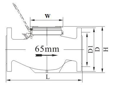 65mm旋翼多流液封水表外形尺寸图