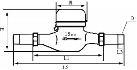 水平安装光电直读远传水表外形尺寸图