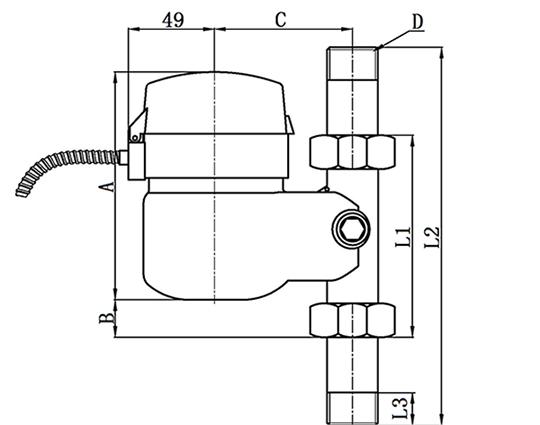 立式安装光电直读远传水表外形尺寸图